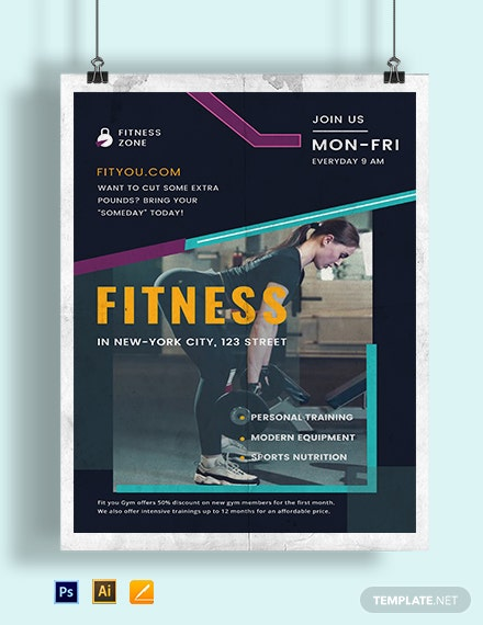 Fitness Motivational Poster Template