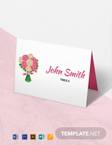 Free Floral Wedding Place Card Template