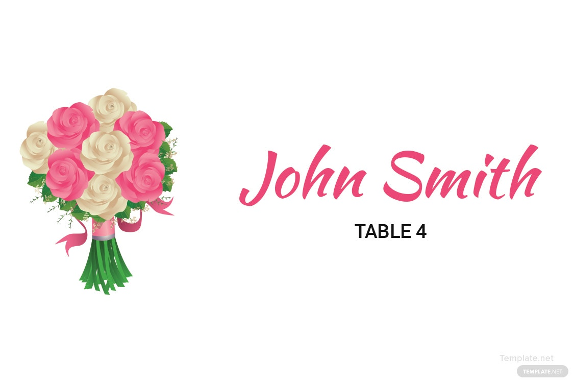 Free Floral Wedding Place Card Template in Adobe Photoshop