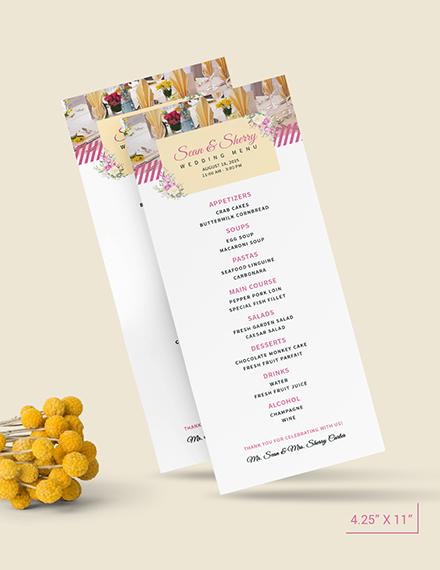 Sample Banquet Wedding Menu