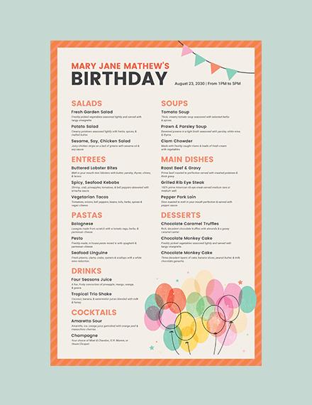 Birthday Poster Menu Template