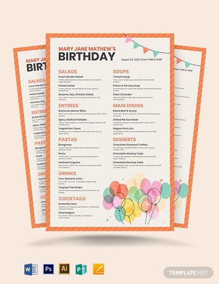 Birthday Poster Menu Template