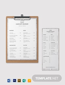 Blank Burger Menu Template