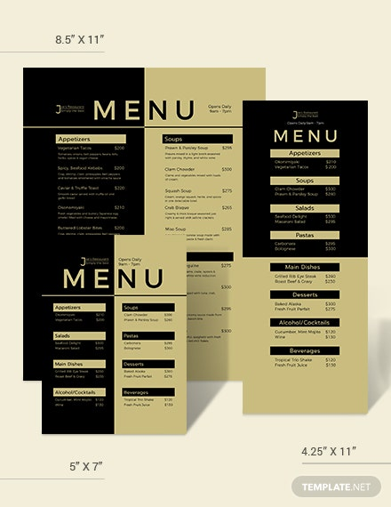Blank Dinner Menu Download