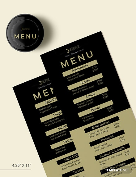 Sample Blank Dinner Menu