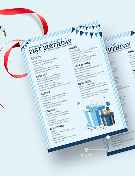 Blue Birthday Menu Download