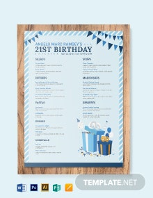 Blue Birthday Menu Template
