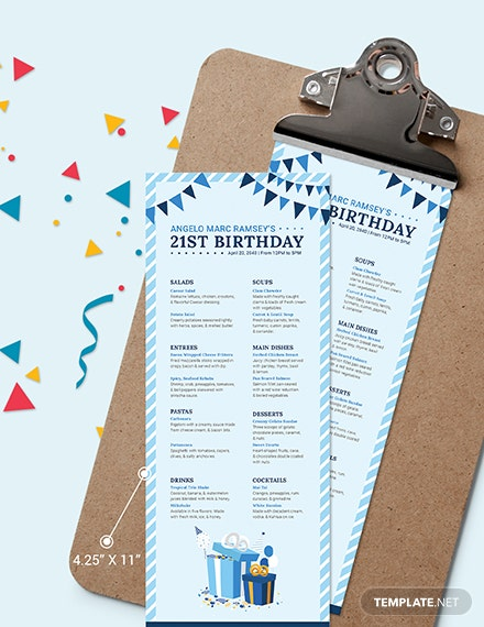 Sample Blue Birthday Menu
