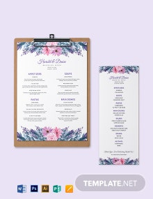 Buffet Wedding Menu Template