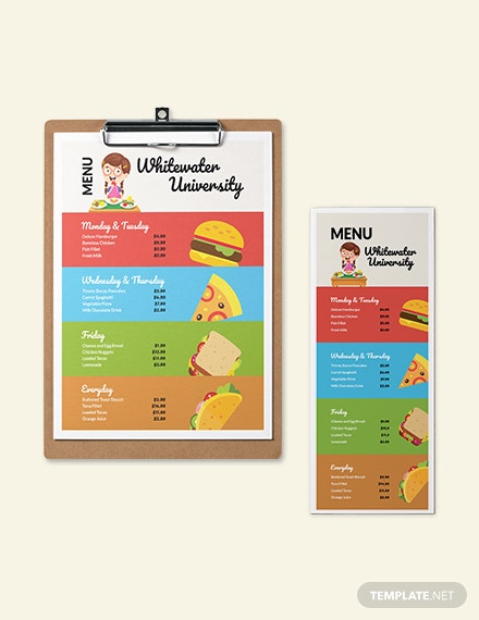 Canteen Cafeteria School Menu Template