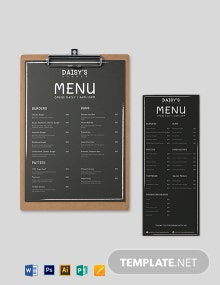 Chalk Board Burger Menu Template
