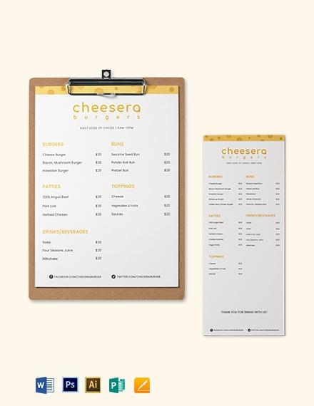 cheese burger menu template