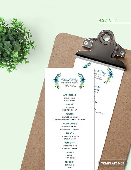 Sample Downloadable Cafe Coffee shop Menu
