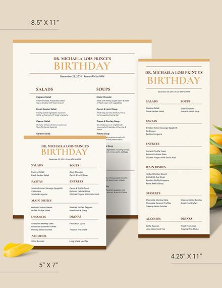 Classy Classic Birthday Menu Download