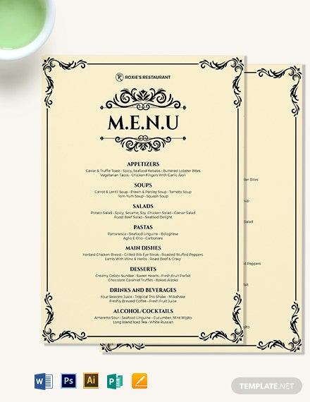 classy classic dinner menu template word psd apple. Black Bedroom Furniture Sets. Home Design Ideas