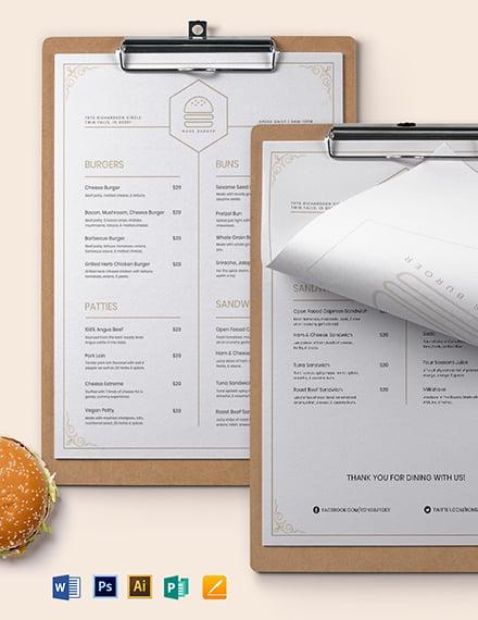 Classy Classic Burger Menu Template