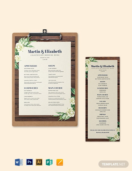 Country Wedding Menu Template