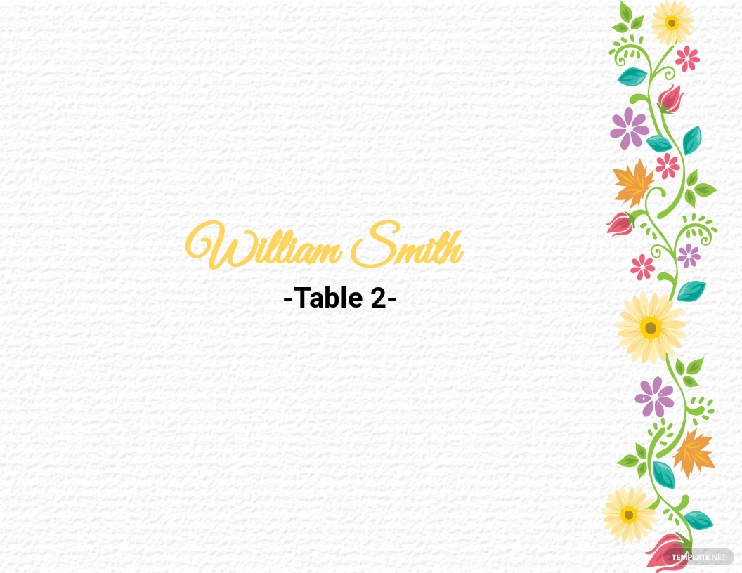 Multi Place Wedding Name Card Template
