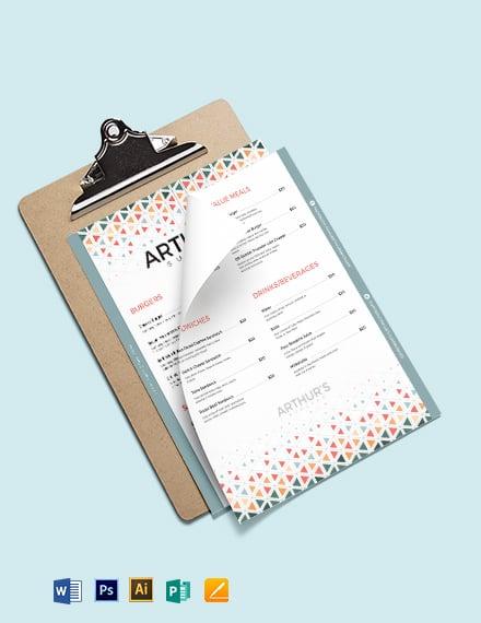 creative burger menu template 1