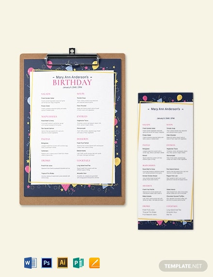 Dinner Birthday Menu Template