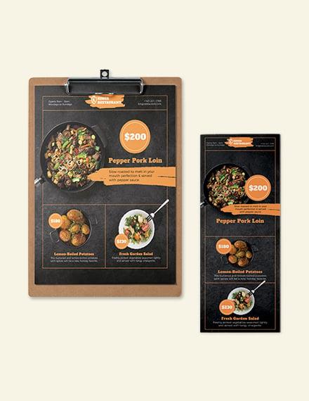 Dinner Poster Menu Template