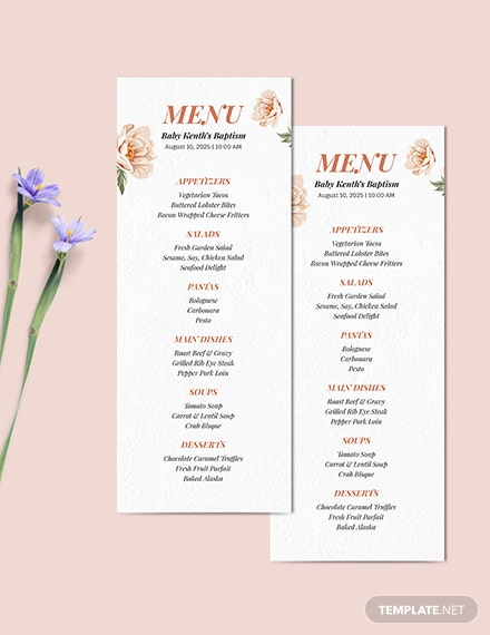 Downloadable Baptism Menu Download