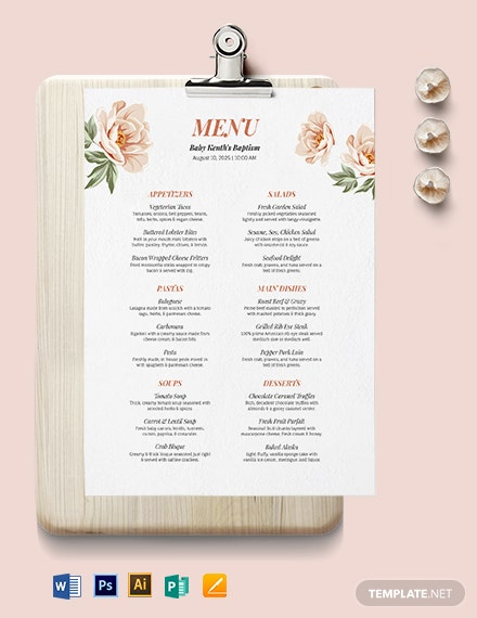 Downloadable Baptism Menu Template