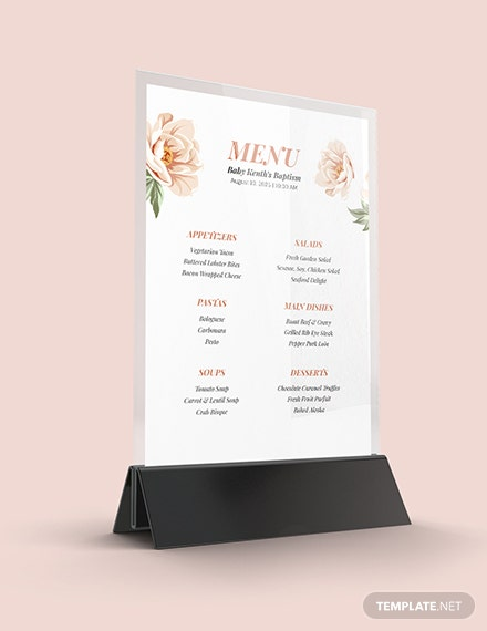 Sample Downloadable Baptism Menu