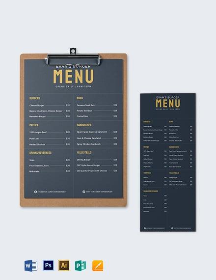 Downloadable Burger Menu Template