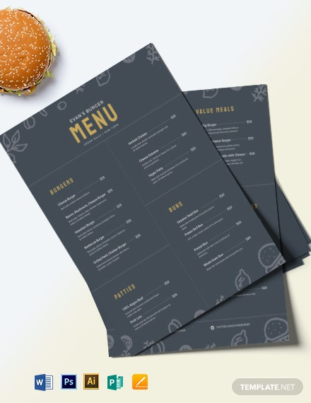 Downloadable Burger Menu Template