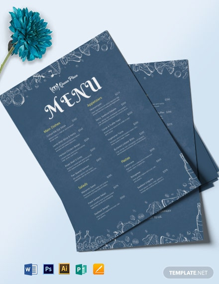 downloadable dinner menu template 1