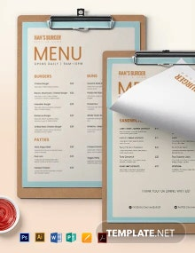 Editable Burger Menu Template