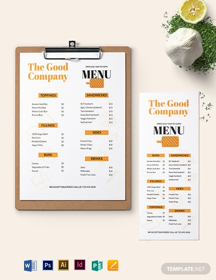 Editable Sandwich Sub Menu Template