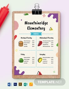 Elementary School Menu Template