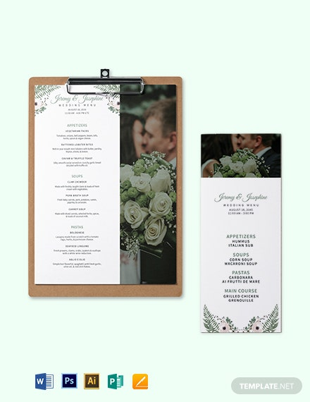 Family Style Wedding Menu Template