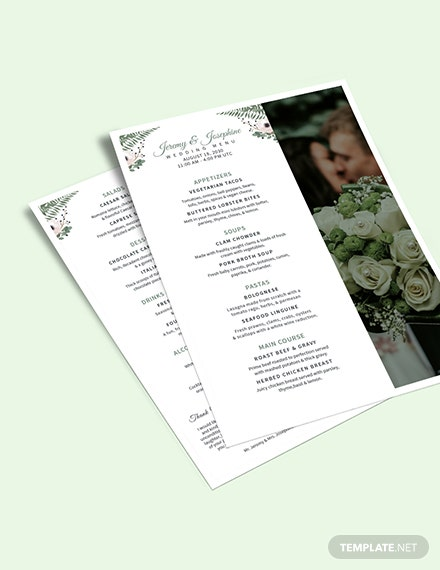 Family Style Wedding Menu Download