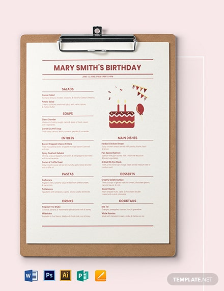 Modern Birthday Menu Template