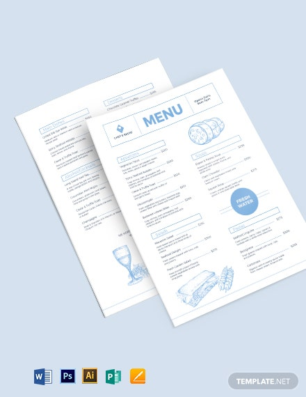 Modern Dinner Menu Template [Free PSD] - Illustrator, Word, Apple Pages, Publisher
