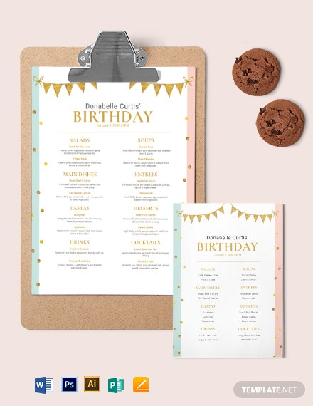 Party Birthday Menu Template