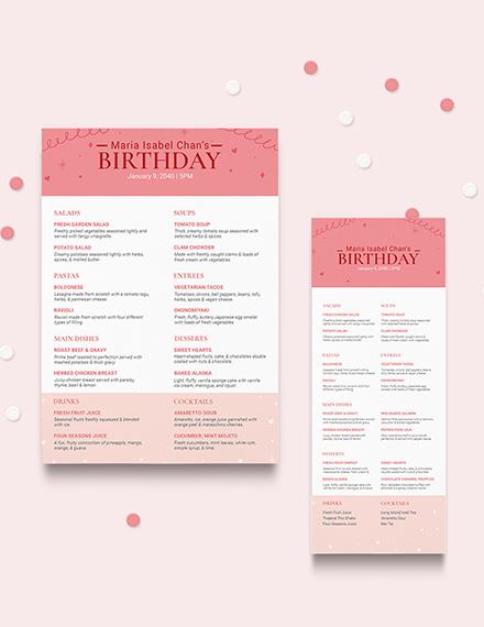 Pink Birthday Menu Download