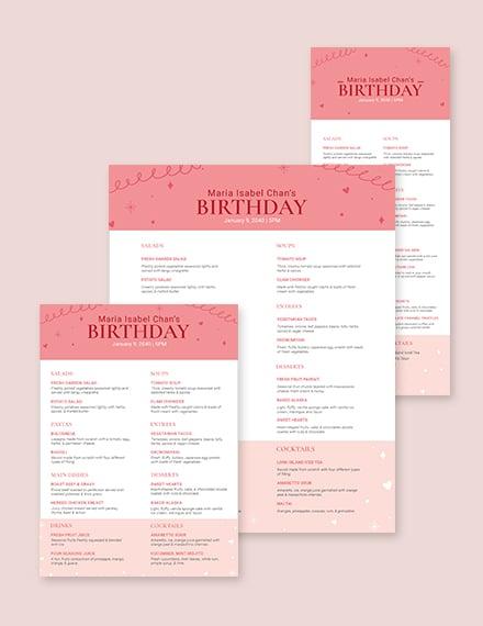 Pink Birthday Menu Template