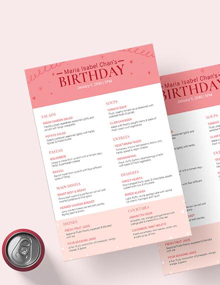 Sample Pink Birthday Menu