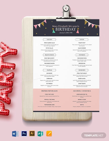 pretty birthday menu template 1