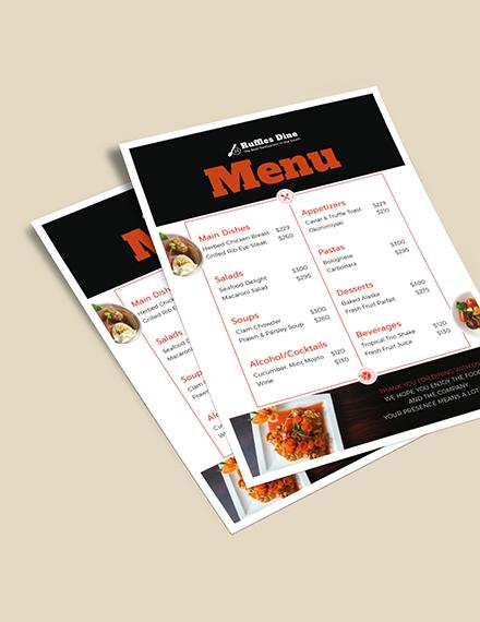 Printable Dinner Menu Download