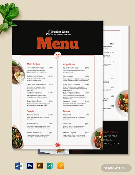 printable dinner menu template 1