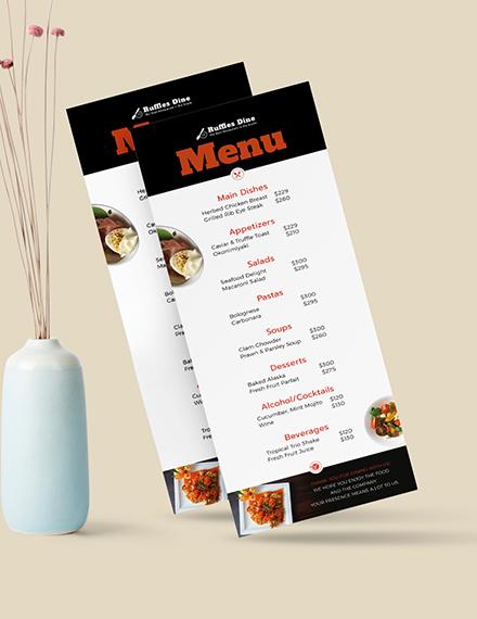 Sample Printable Dinner Menu