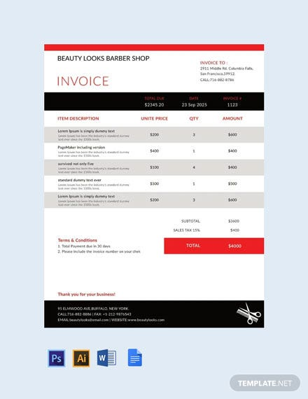 Free Barbershop Invoice Template