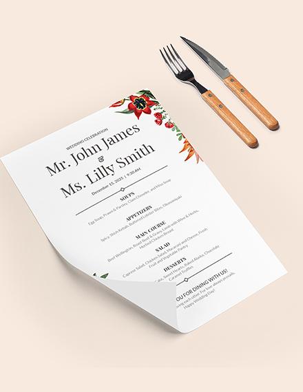 Printable Wedding Menu Download
