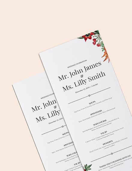 Sample Printable Wedding Menu