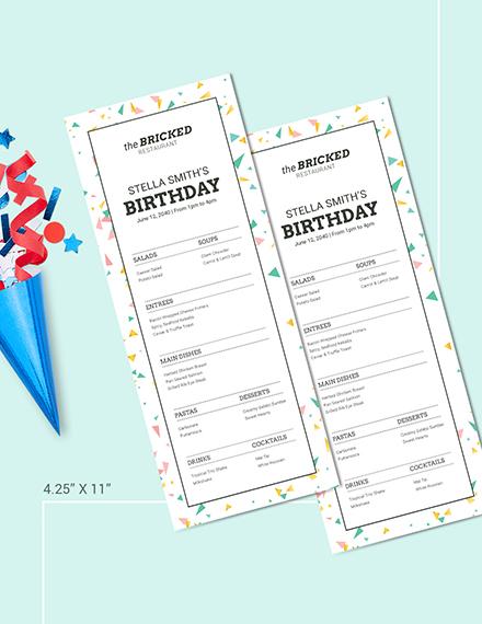 Restaurant Birthday Menu Download